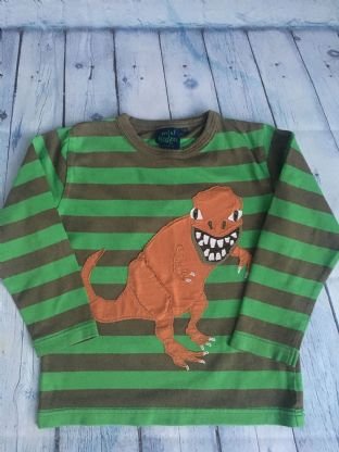 Mini Boden khaki and green striped applique dinosaur long sleeved top age 5-6